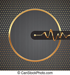 Abstract vector hi-tech illustration with golden round frame, equalizer waves & dotted pattern on a metal texture background