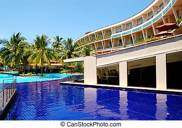 The luxury hotel with swimming pool and bar, Bentota, Sri Lanka