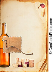 Wine bar list menu Old book page, bottle of wine, cork and...