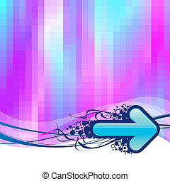 Vector abstract pixelated multicolored background with  arrows
