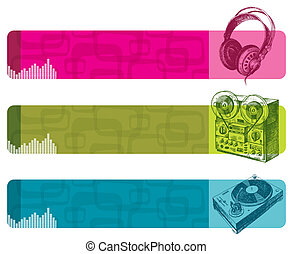 Vector retro banners with hand drawn musical equipment