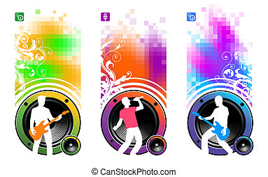 Abstract vector banners with loudspeakers and silhouettes of...