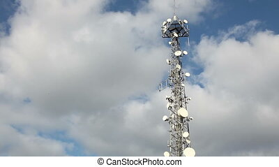 Communications Tower 2 - Communications Tower With Clouds,...