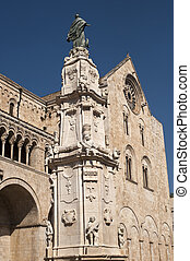 Bitonto (Bari, Puglia, Italy) - Old cathedral in Romanesque style, with (in foreground) the Spire of the Immacolata (1733, baroque)