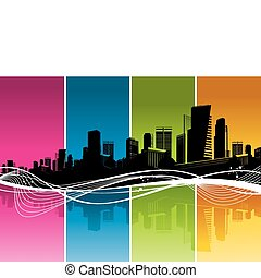 Vector silhouette of Cityscape, color strips & waves