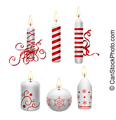 Christmas candles - Collection of 6 white Christmas candles