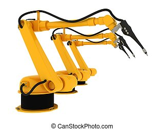 Industrial Robotic Arm Isolated On White