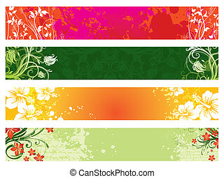 Vector set of ornate floral web banners
