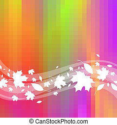 Colorful vector background with waves & maple leaves