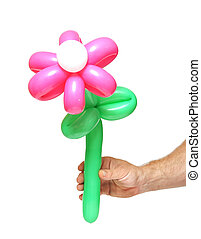 Flower made from vibrant twisted balloons