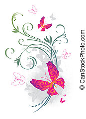 Vector ornate branches with butterflies