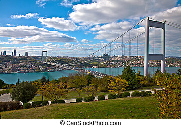 Bosphorus with Bridge - Bosphorus with Traffic on the Bridge...