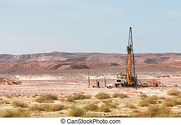 Oil drilling - Old truck used for drilling in Sinai desert...