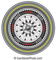 Calendar 2012 year  wheel car.