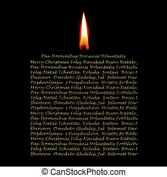 Christmas Cards candle in many languages - Christmas...