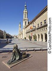 Pilar - Zaragoza, Spain - November 16, 2010: bronze...