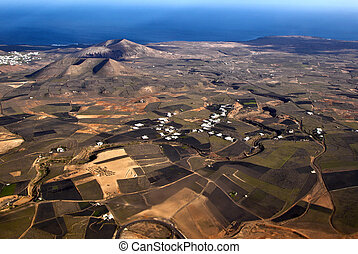 aerial of Lanzarote with wind power plant - aerial of...