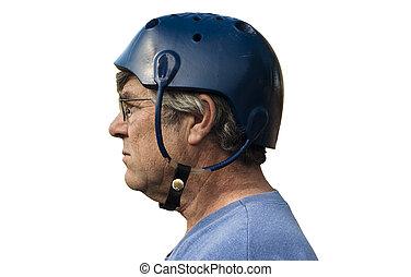 vintage seizure helmet - man wearing a seizure helmet for...