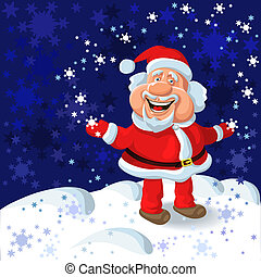 vector a happy Santa Claus on the background of snowflakes -...