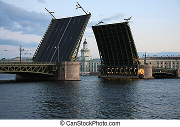 drawbridge in St. Petersburg - view of the Kunstkammer in...