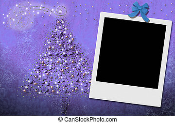 Christmas tree greeting card with instant frame - Christmas...