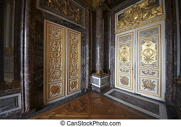 entrances to the hall of Venus in the palace of Versailles,...