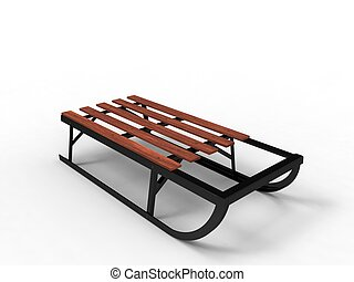 3d illustration of a wood and metal sled on a white...