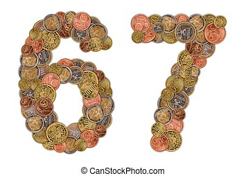 Numbers 6 and 7 made of Euro coins