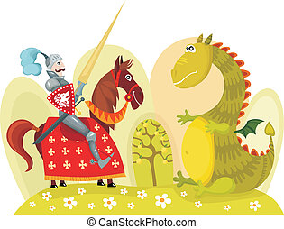 knight - vector illustration of a knight and dragon