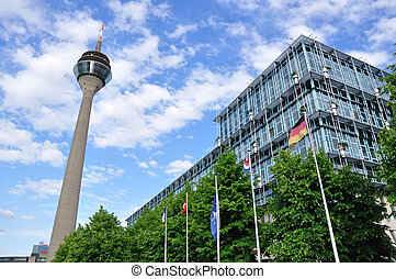 Dusseldorf, Germany - TV Tower and office building in...