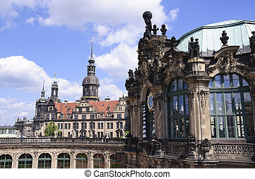 Dresden, Germany - Zwinger and Residenzschloss in Dresden,...