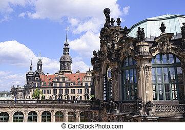 Dresden, Germany - Zwinger and Residenzschloss in Dresden,...