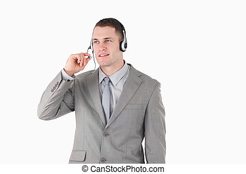 Businessman using a headset