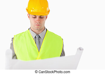 Builder looking at a plan