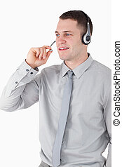 Portrait of an assistant using a headset