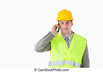Builder making a phone call