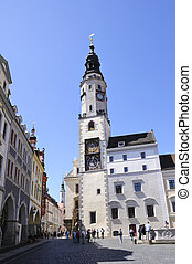 Goerlitz, Germany - Old town of Goerlitz The spire of the...