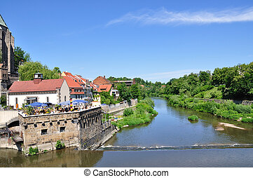 Neisse river in Goerlitz. It is the border in Germany and...