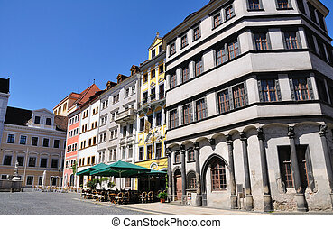 Goerlitz, Germany - Old town of Goerlitz. The spire of the...
