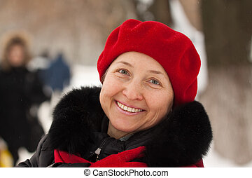 mature woman  at winter park