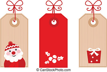 Retro Christmas Gift Tags or Labels ( red ) - Cute stylized...