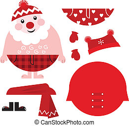 Dress up your Santa! Christmas retro icons & design elements...