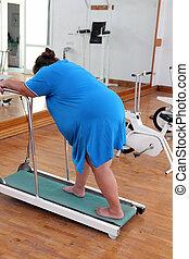sovrappeso, donna, correndo, allenatore, routine