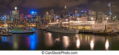 Darling Harbour - military boats at Darling Harbor in Sydney...