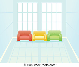waiting room with window - an illustration of a light blue...