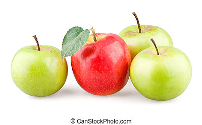 Red apple with leaf and three green apples around