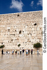 Prayer at the wailing wall western wall, Jerusalem, Israel -...