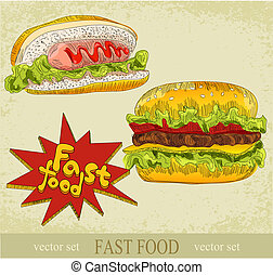 vintage vector set of fast food