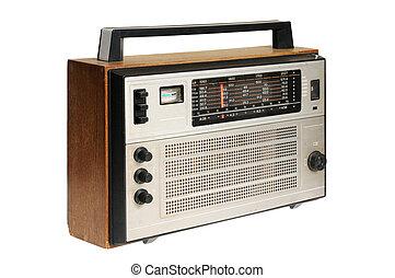 Oldfashioned retro radio 80th Isolated on white background