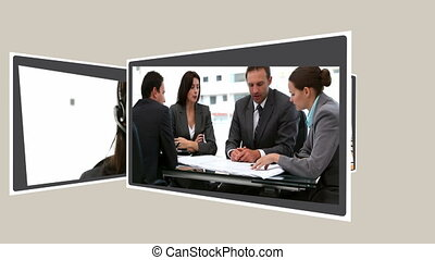 Animated interface about business communications